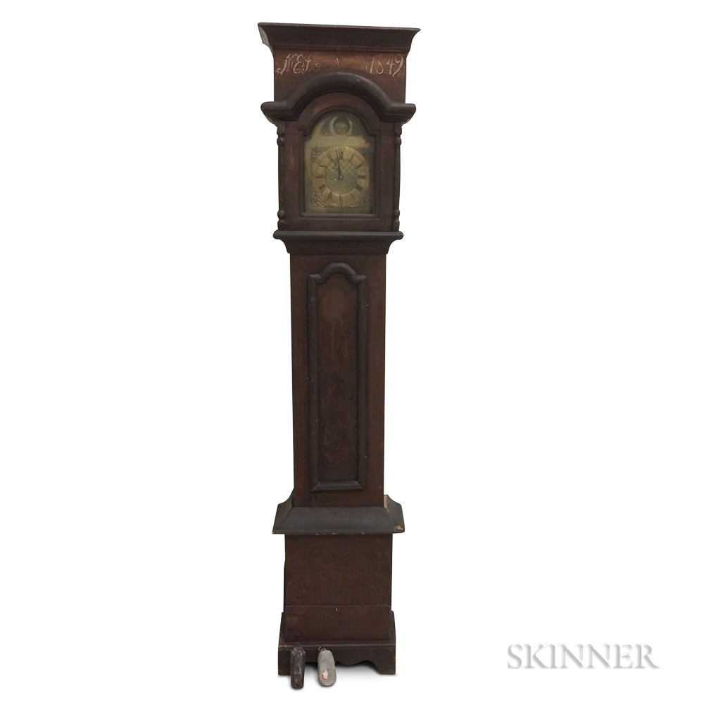 Continental Grain-painted Pine Tall Case Clock