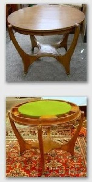 Hunzinger Flip-top Oak Game Table with Brass Paw Feet
