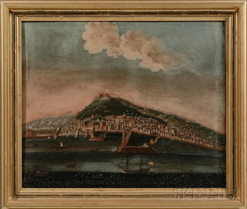 Italian School, late 19th Century      Lot of Two Italian Port Scenes with American Shipping.