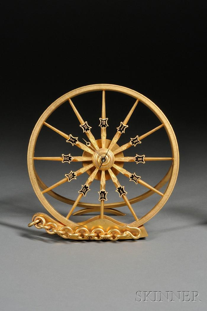 French Gilt-metal Wheel-form Timepiece