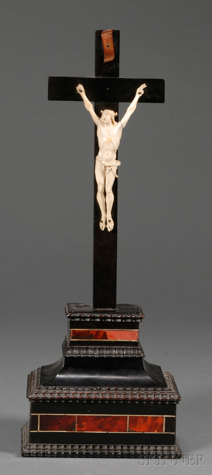 Northern European Ivory, Ebonized Wood, and Tortoiseshell Crucifix