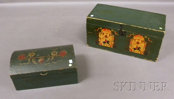 Two Polychrome Paint-decorated Pine Boxes