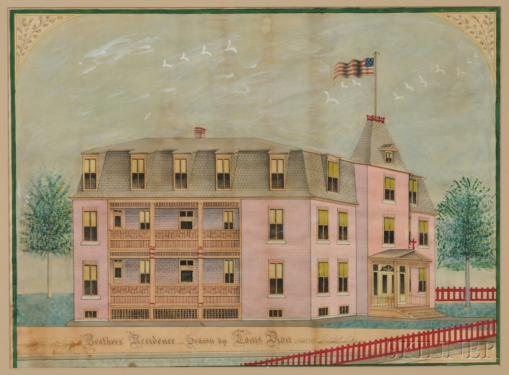 American School, Late 19th Century      Architectural Drawing of a Mansard-roof Brick Building.