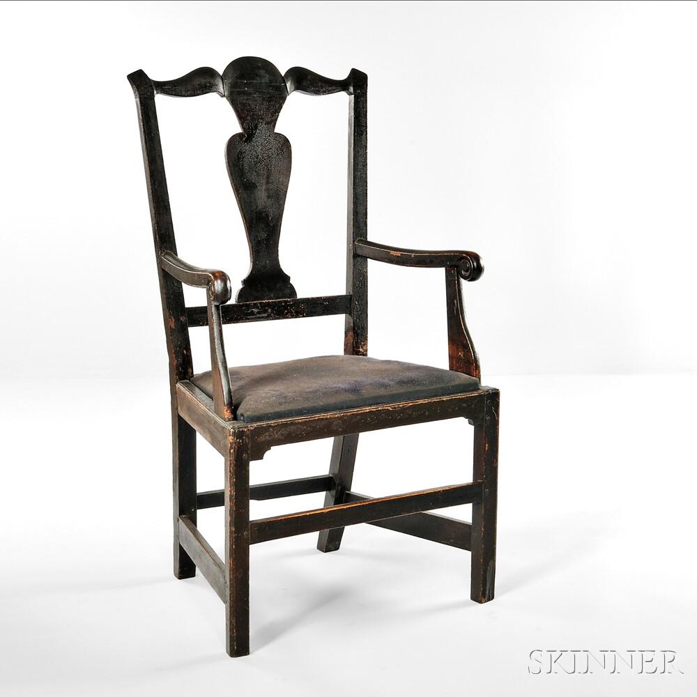 Black-painted Armchair