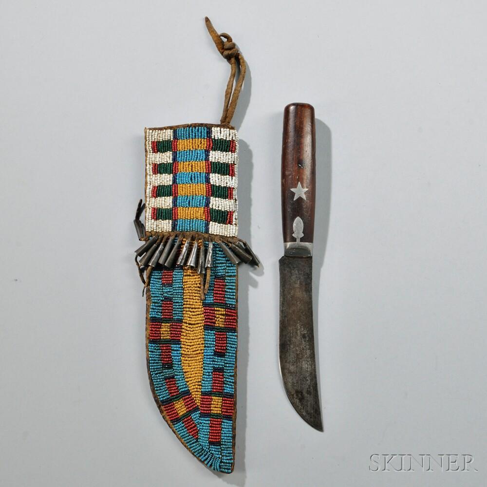 Central Plains Beaded Hide Knife Sheath