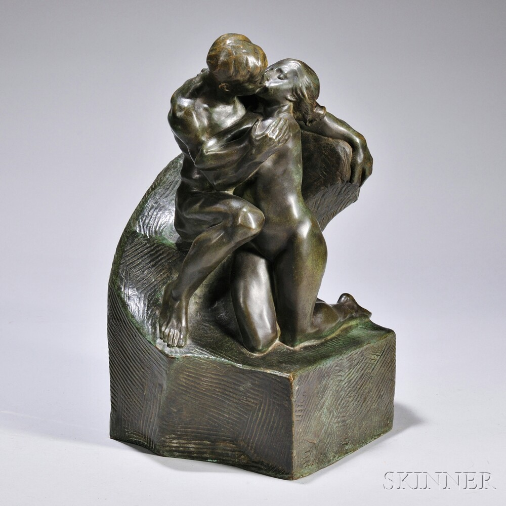 Bronze Figural Group of Lovers Kissing