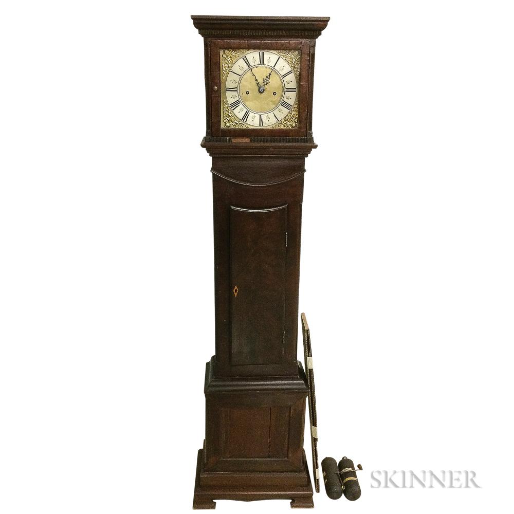 Reproduction James Delaunce Walnut Veneer Tall Case Clock