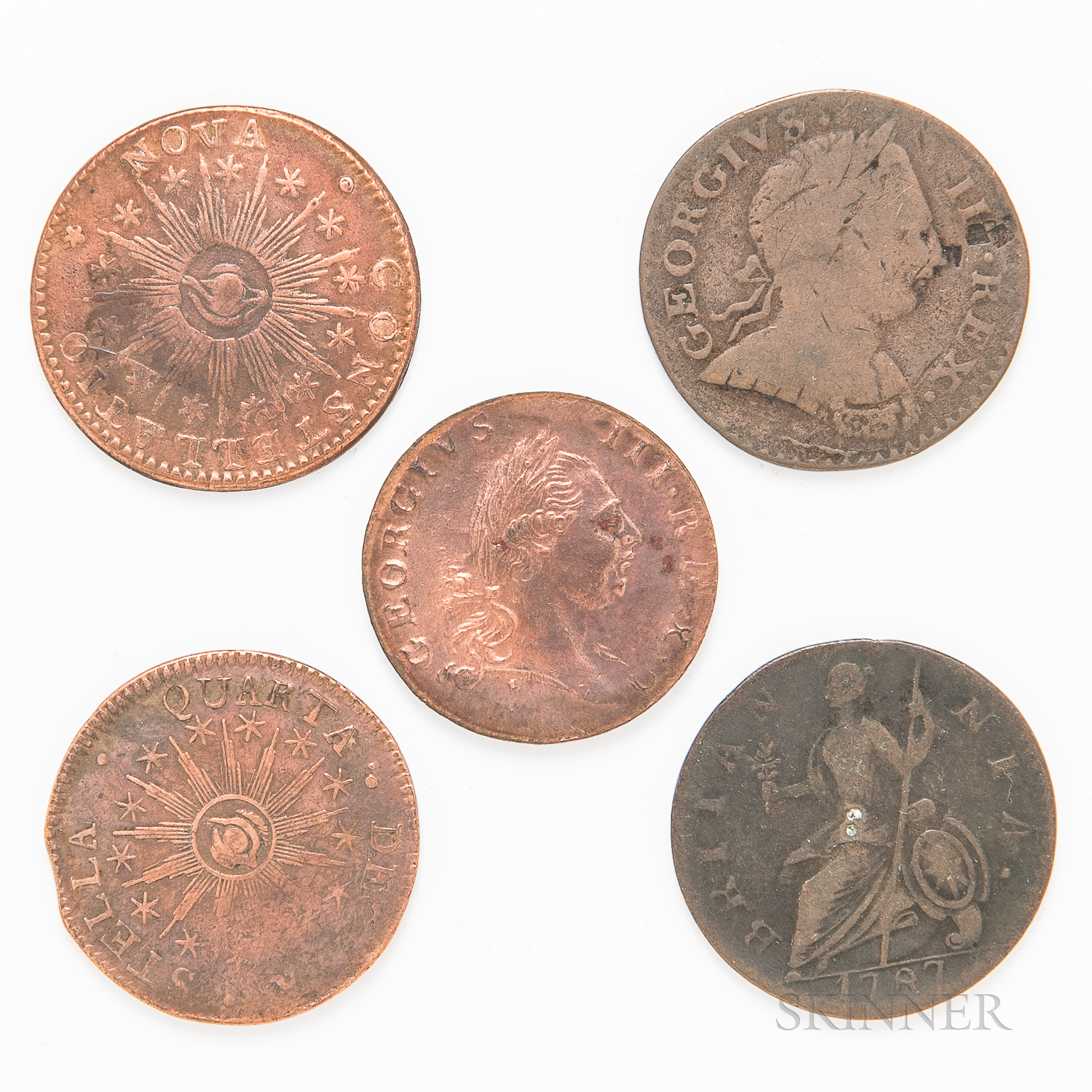 Five Colonial Tokens