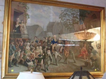 Framed Large Folio Color Lithograph of Washington's Return
