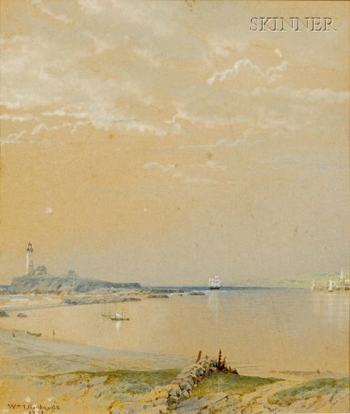 William Trost Richards (American, 1833-1905)      Coastal View with Distant Lighthouse and Sailing Vessels