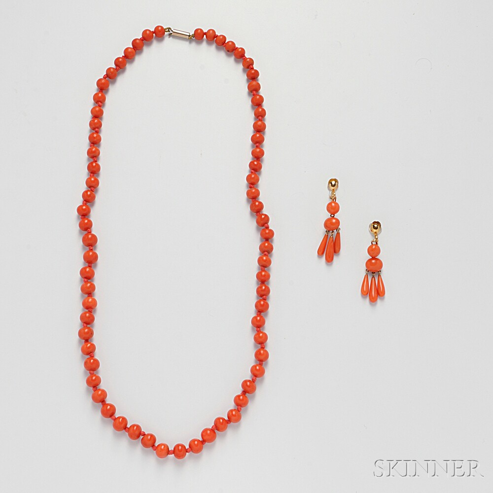 Two Coral Jewelry Items