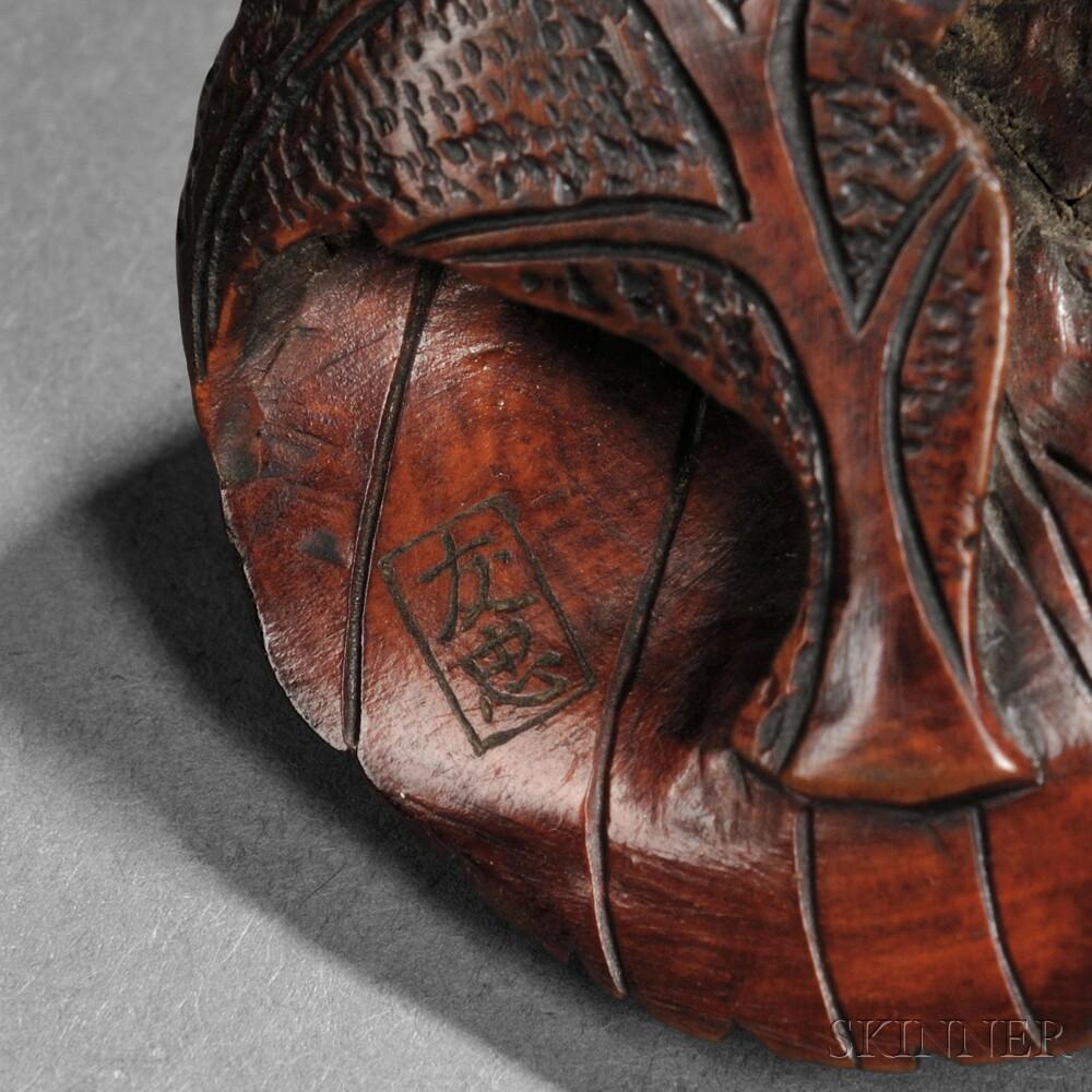 Wood Netsuke of a Cicada
