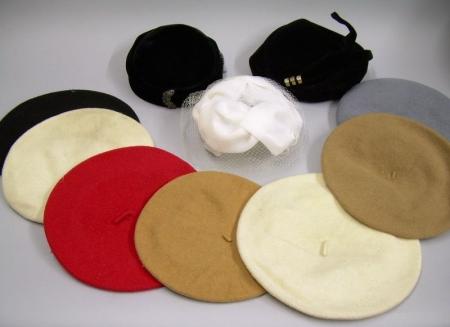 Seven Wool Berets and Three Vintage Ladies' Hats