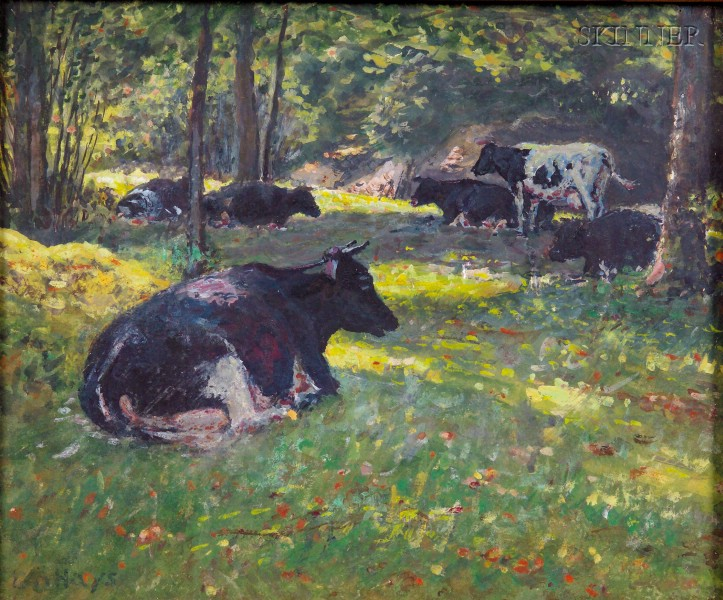 George Arthur Hays (American, 1854-1945)      Lot of Two Landscapes with Grazing Cattle: In the Glen, Near Saylisville