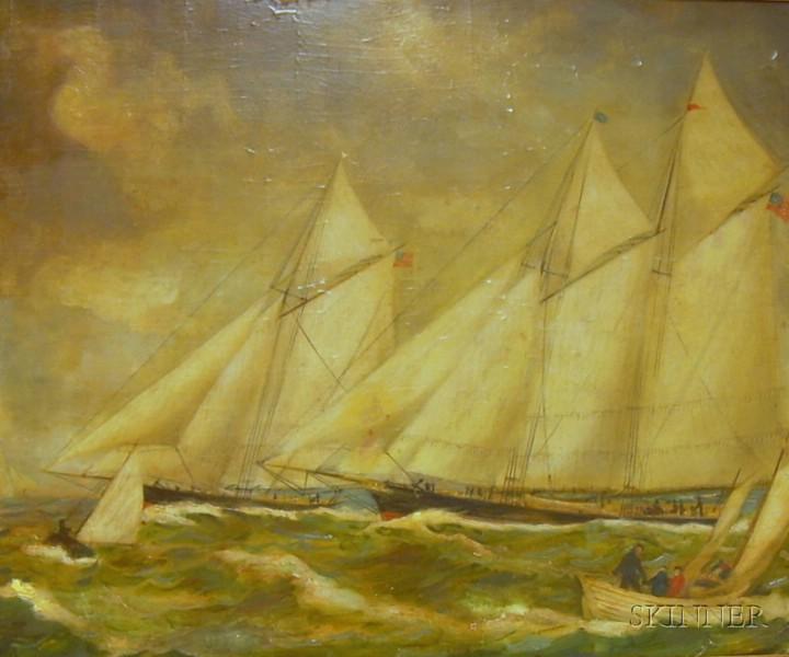 Framed Oil on Board of Sailing Vessels