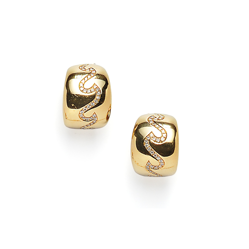 18kt Gold and Diamond Earclips, Van Cleef & Arpels