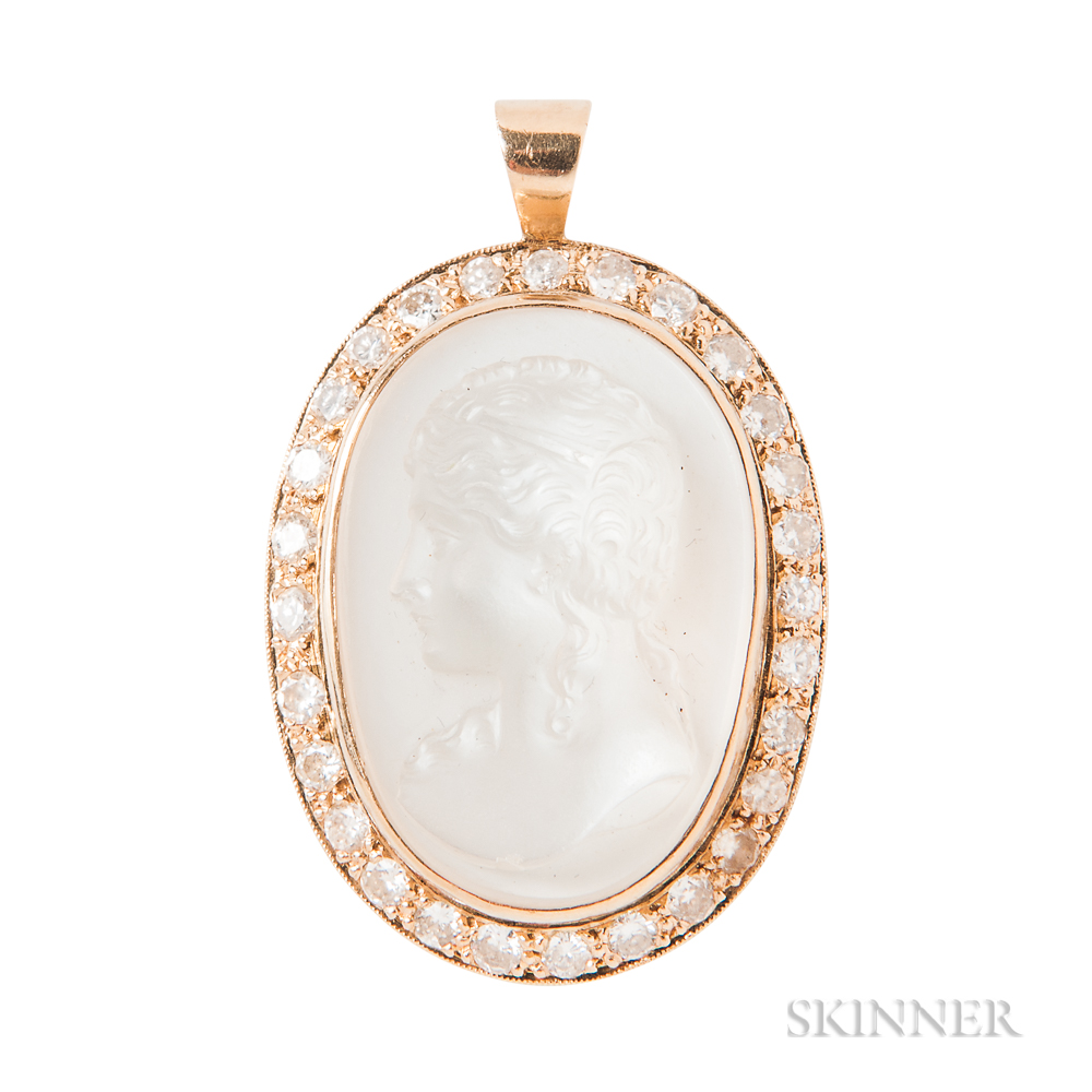 14kt Gold, Moonstone Cameo, and Diamond Pendant
