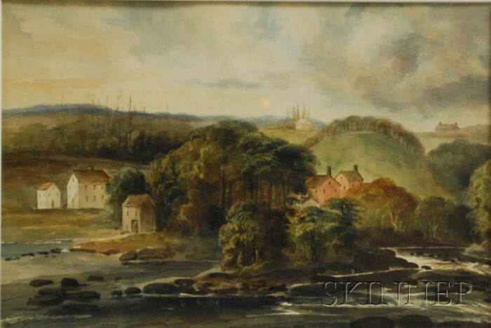Attributed to Edward Seager (American, 1809-1886)      Along the River