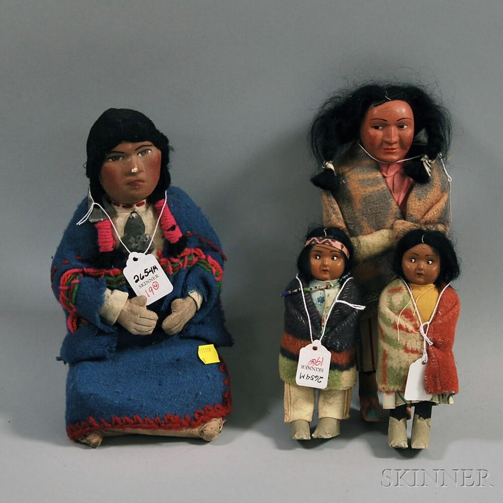 "Three ""Skookum"" Indian Figural Dolls"