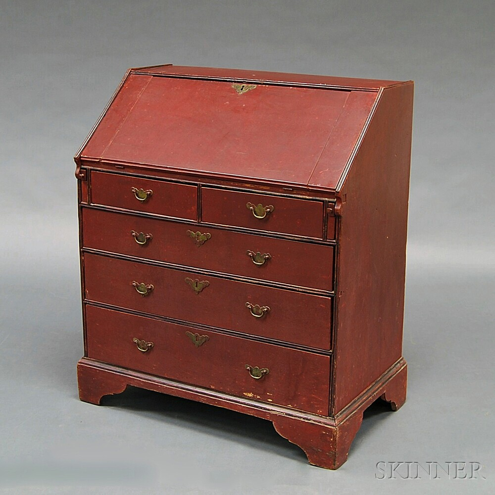 Chippendale Red-painted Slant-lid Desk