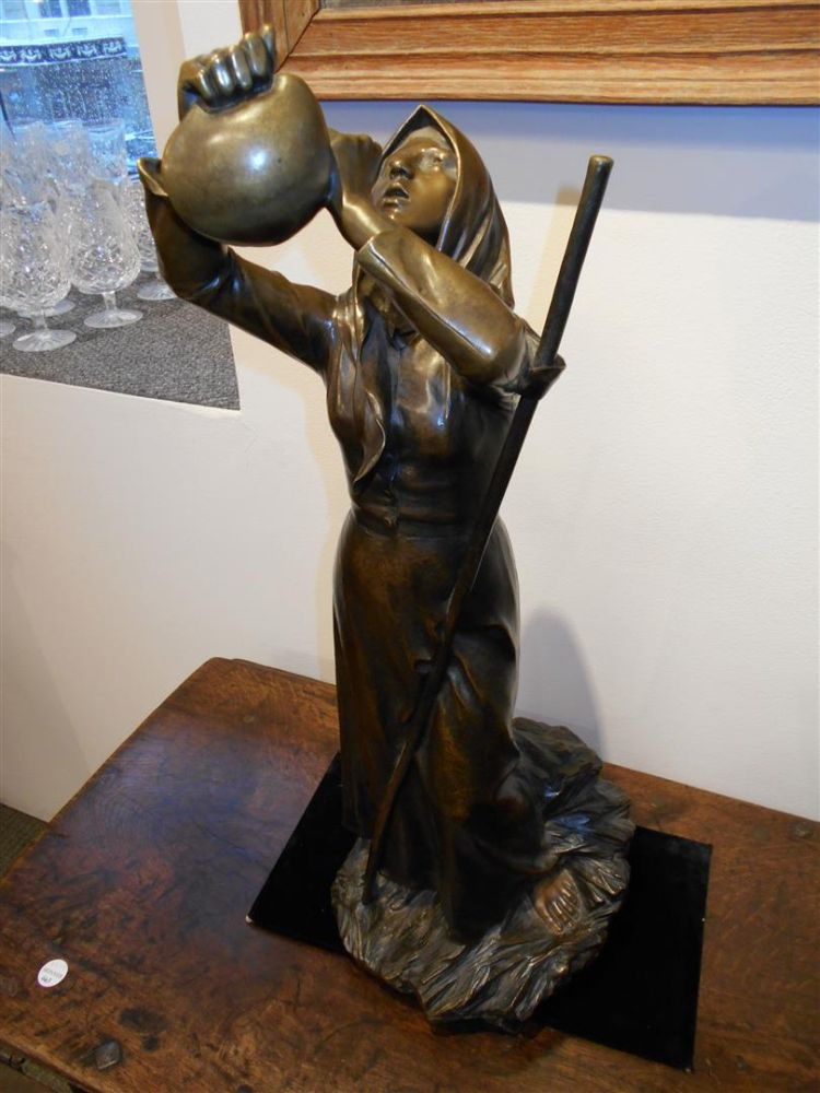 Jean-Marie Mengue (French, 1855-)       Patinated Bronze Figure A Cool Drink
