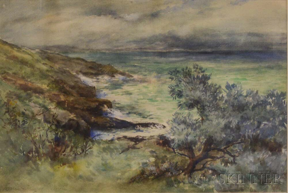 Harriet Thayer Durgin (American. b. 1848)      Coastal View with Cliffs and Foreground Tree.