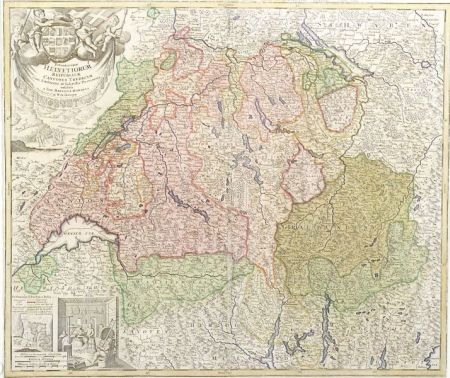 Two Handcolored Decorative Maps Of Switzerland Sale Number - Decorative maps for sale