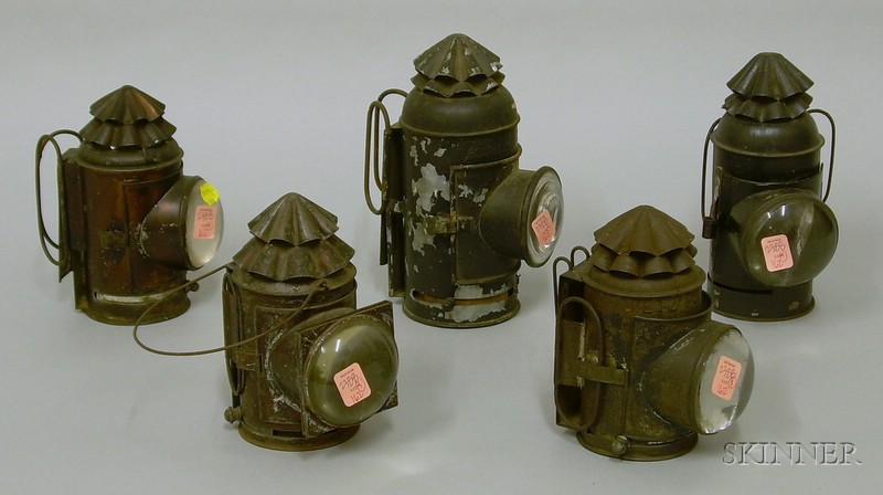 Five Tin and Glass Lanterns
