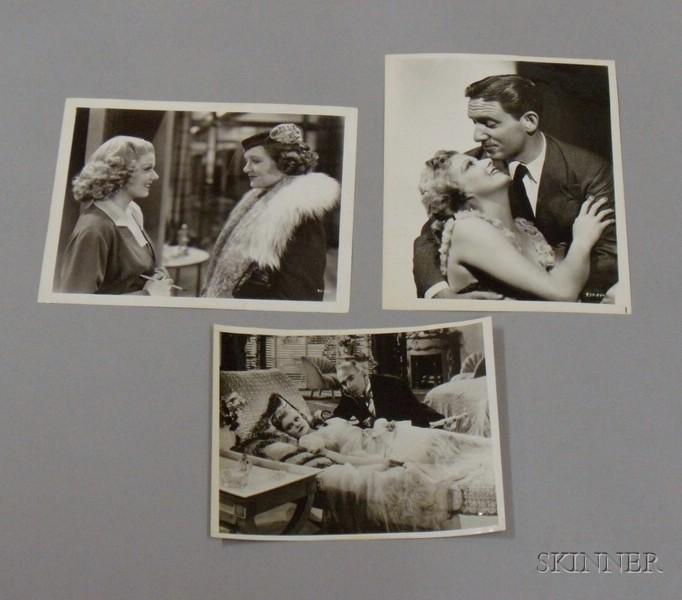 Three Jean Harlow MGM Studio Publicity Press Still Photographs