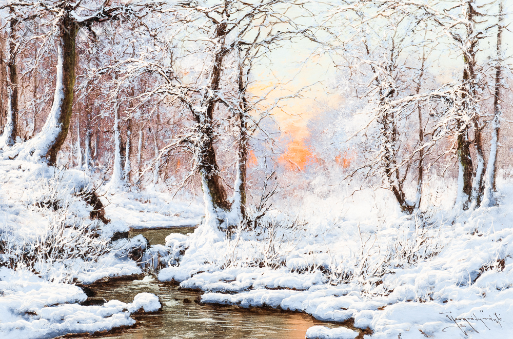 Laszlo Neogrady (Hungarian, 1896-1962)      Wintery Forest