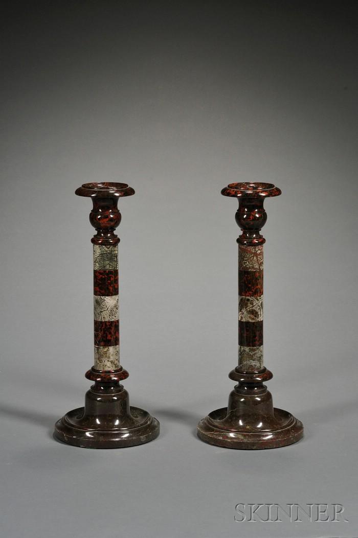 Pair of Victorian Serpentine Candlesticks