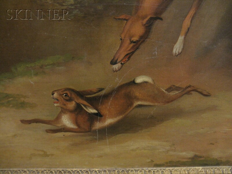 James Barenger II (British, 1780-1831)      Greyhounds in the Hunt for a Rabbit