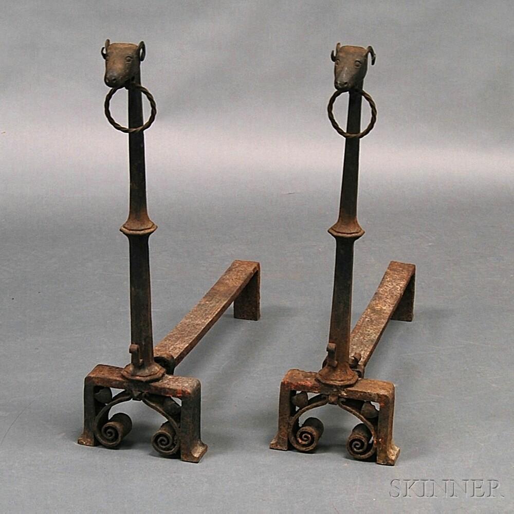 Pair of Cast Iron Ram's Head Andirons
