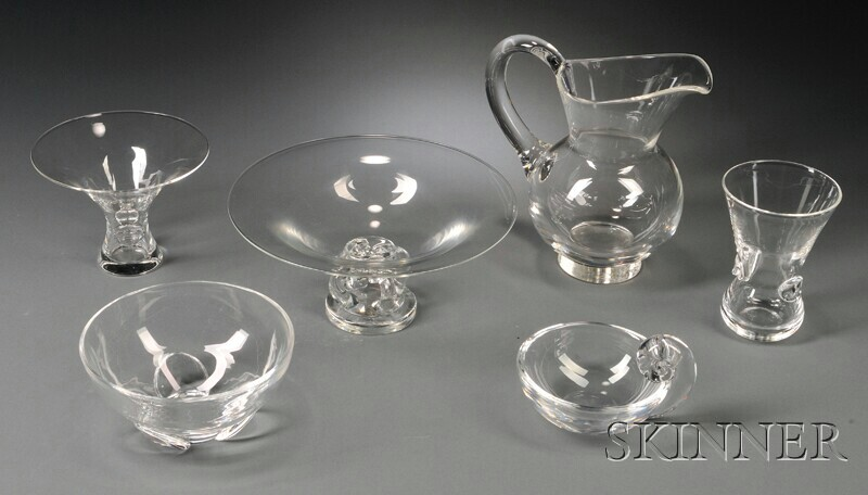 Five Pieces of Steuben and a Crystal Bowl