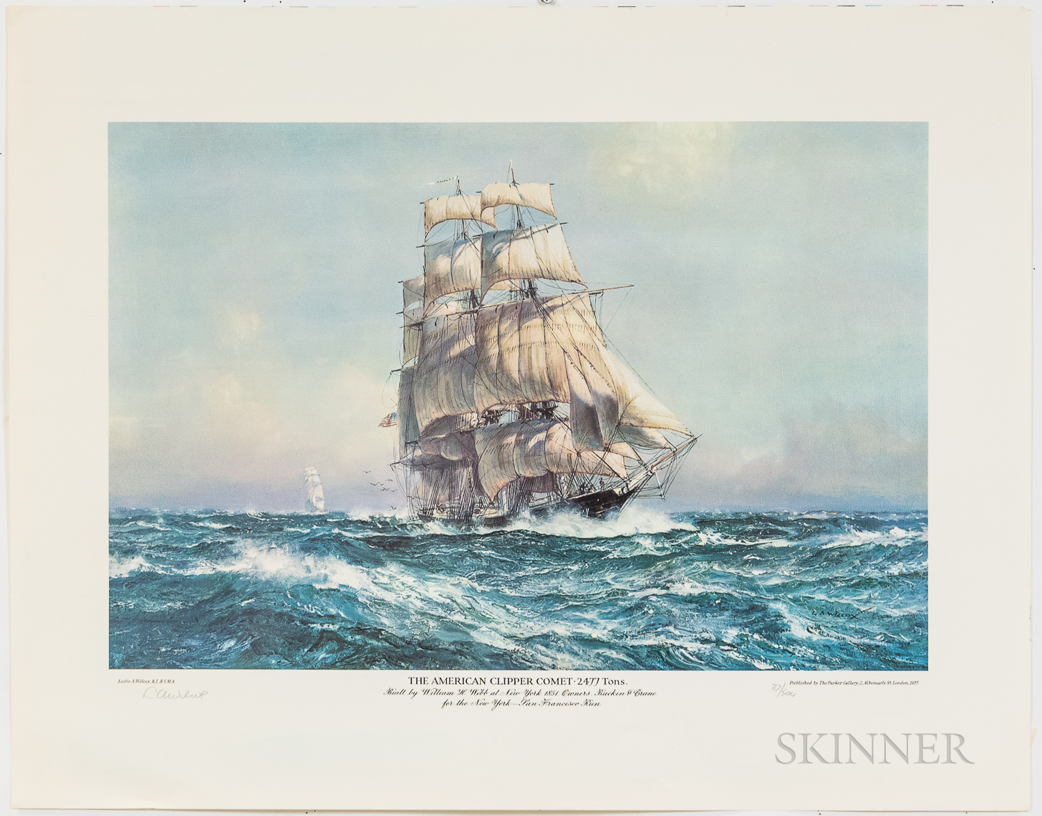After Leslie A. Wilcox (British, 1904-1982)      Two Offset Lithographs: The American Clipper Comet   and Sovereign of the Seas