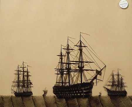 Three Reverse Paintings on Glass of English Naval Scenes