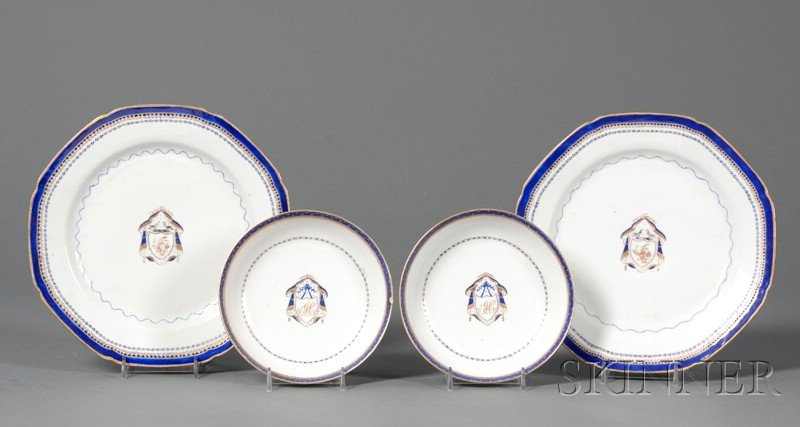 Four Chinese Export Armorial Porcelain Items