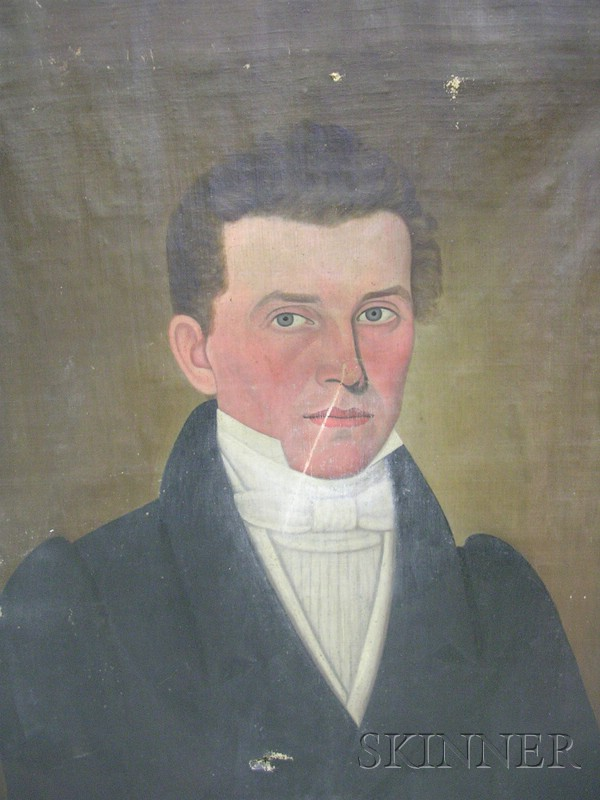 Attributed to John Brewster, Jr.  (American 1766-1854)      Portrait of