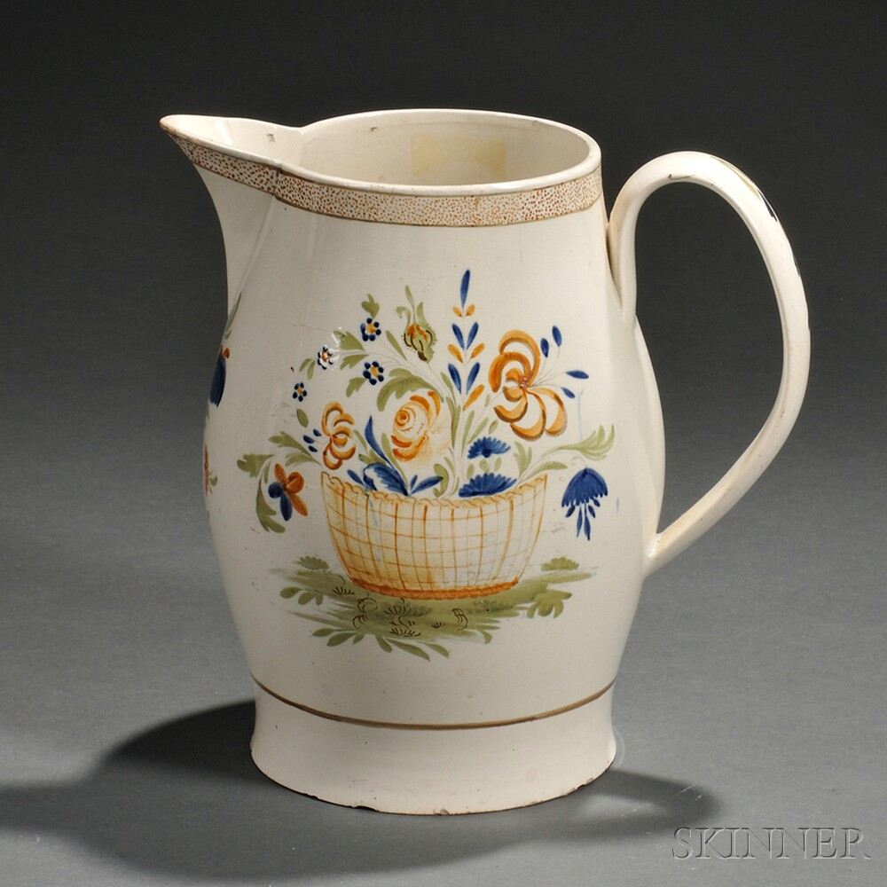 Polychrome Decorated Creamware Pitcher