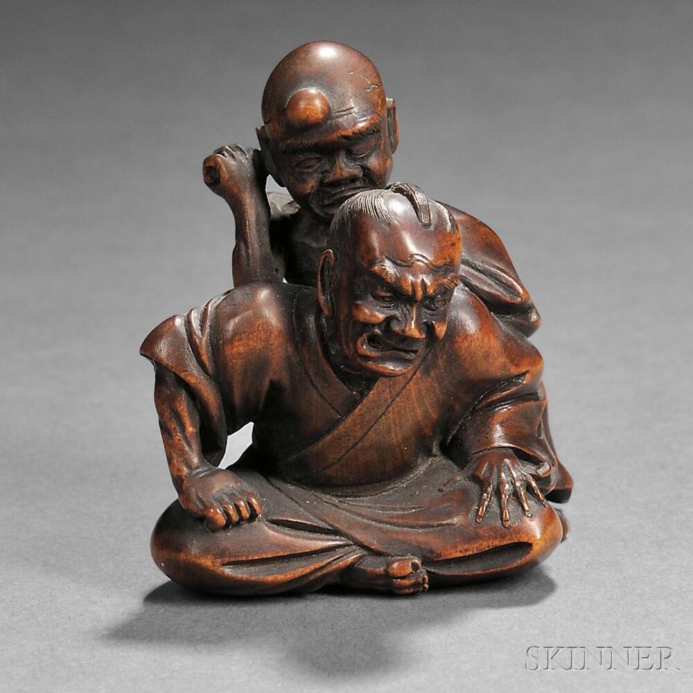 Wood Netsuke of Two Men