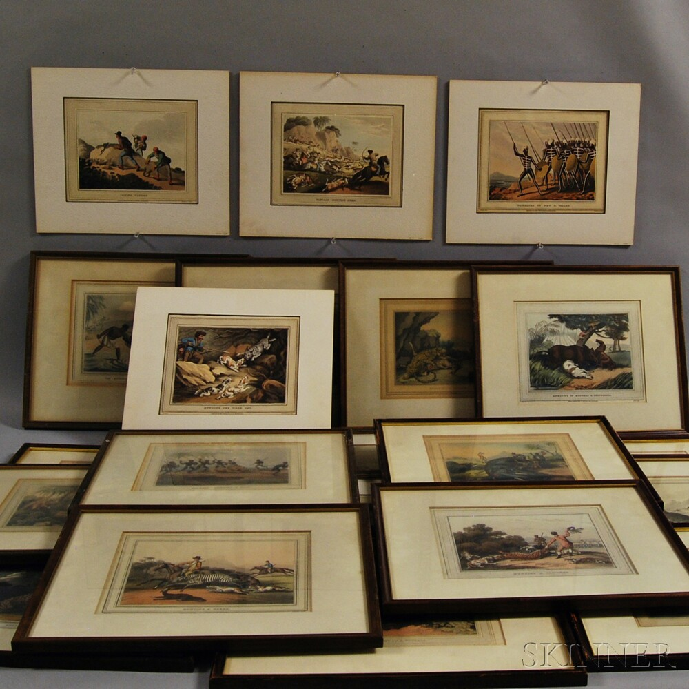 Sporting Prints, Hand-colored Aquatints, Seventeen Framed, Four Unframed.