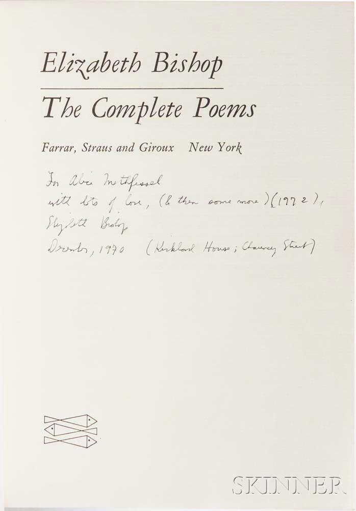 Bishop, Elizabeth (1911-1979) The Complete Poems,   Signed Presentation Copy to Alice Methfessel.