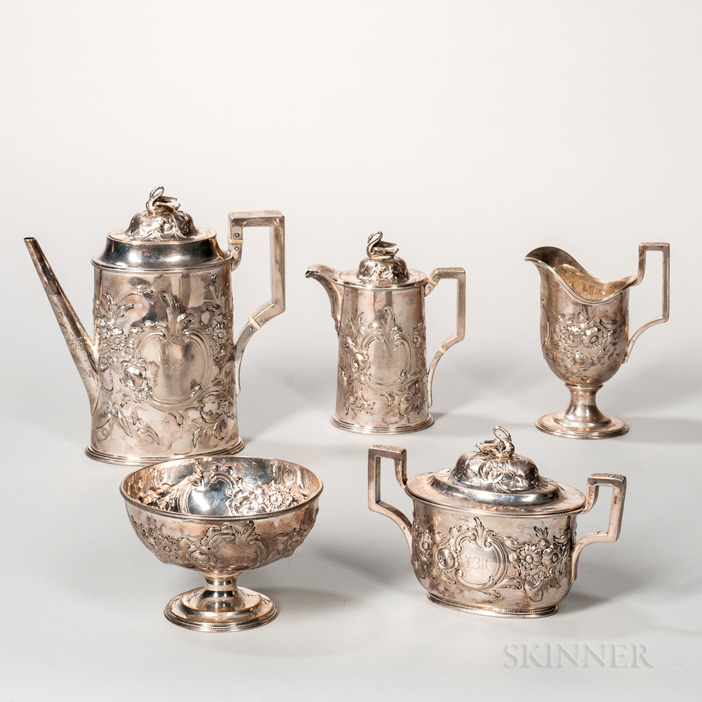 Five-piece Tiffany, Young & Ellis Silver Tea Service