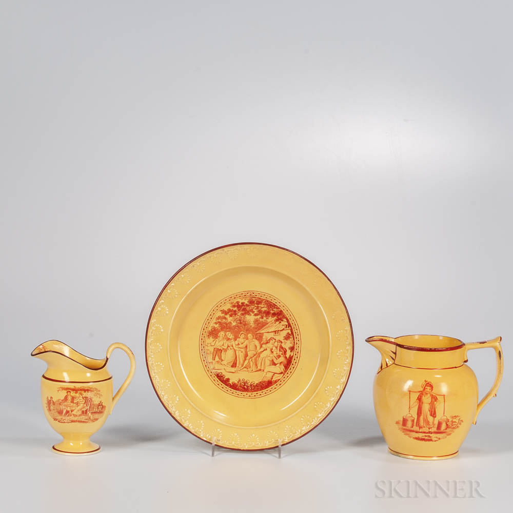 Three Yellow-glazed Staffordshire Red Transfer-printed Items