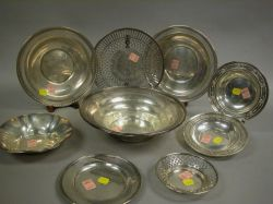 Ten Sterling Silver Bowls and Plates