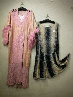 1920s Ladys Cut Velvet and Rhinestone Dress and a Pink Lace and Feathered Velvet Lounge Robe.