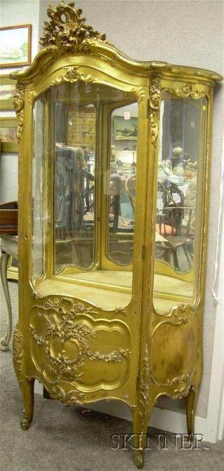 Louis XV Style Giltwood Serpentine Mirrored Vitrine