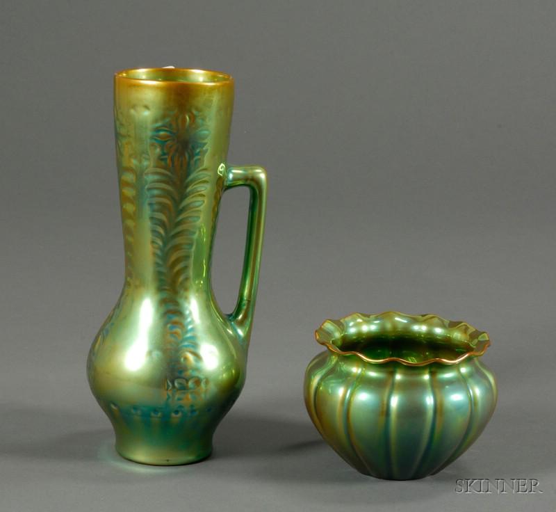 Zsolnay Eosin Ewer and Bowl