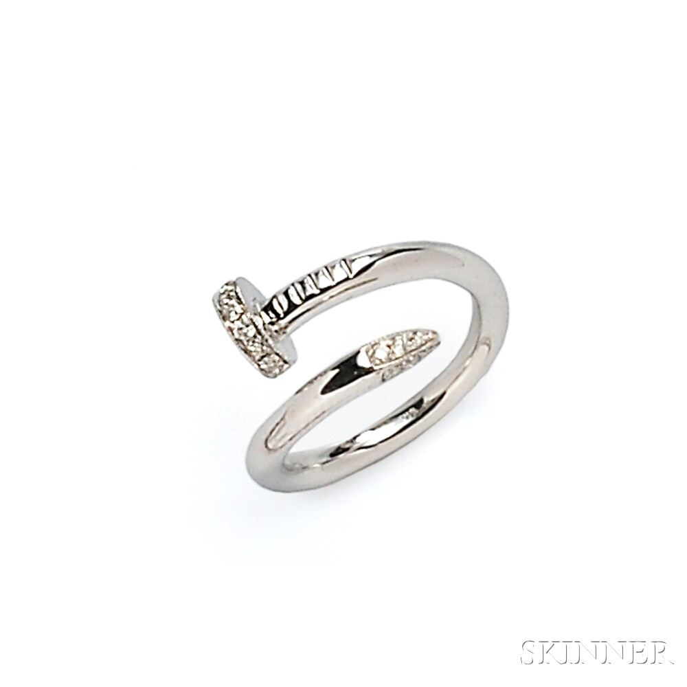 14kt White Gold and Diamond Nail Ring
