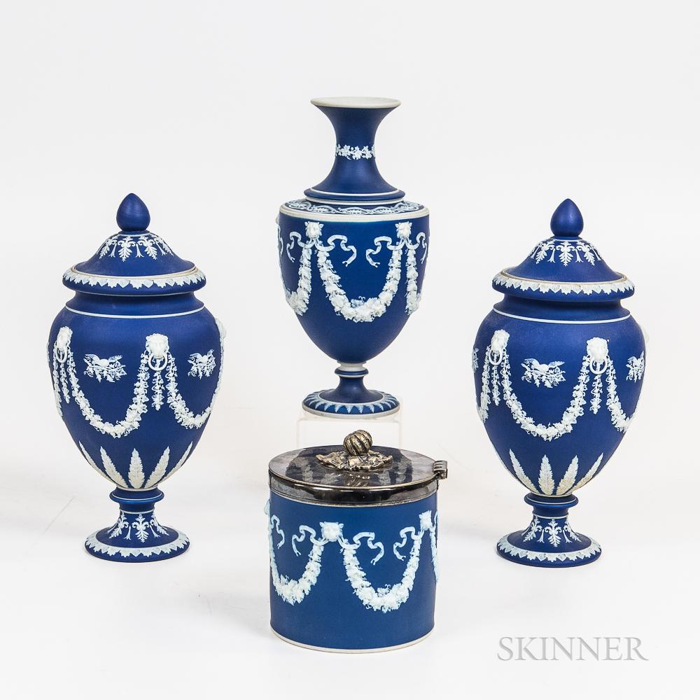 Four Dark Blue Jasper Items